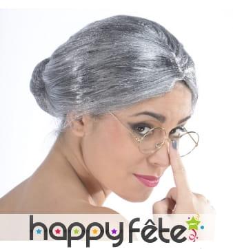 Perruque grise chignon de grand mère