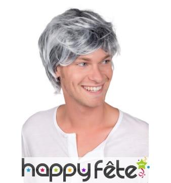 Perruque grisonnante courte pour homme