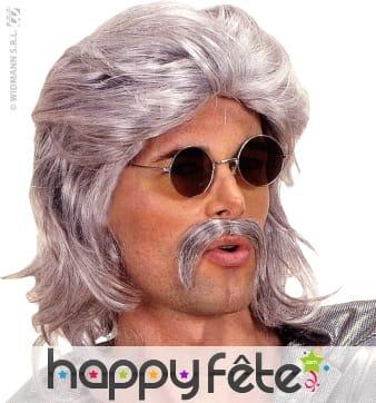 Perruque grise des annees 70 avec moustaches