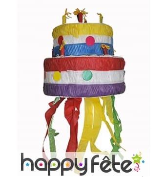 Pinata gâteau d'anniversaire multicolore