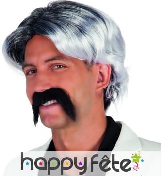 Perruque grisonnante et moustache adhésive