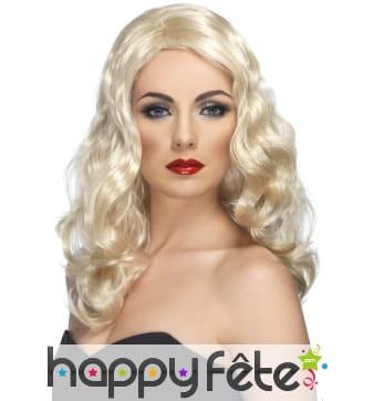 Perruque glamour longues boucles blondes