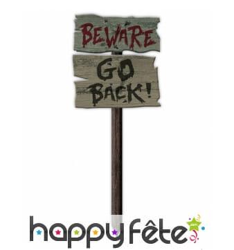 Pancarte Halloween Beware Go Back, 54 x 20cm