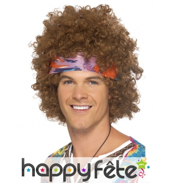 Perruque hippie brune afro