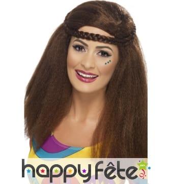 Perruque hippie brune femme