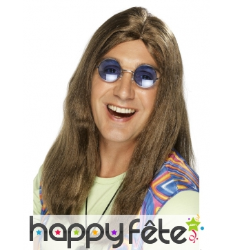 Perruque hippie brune