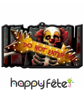 Panneau Halloween Do Not Enter clown squelette