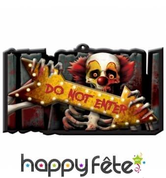 Panneau Halloween Do Not Enter clown squelette