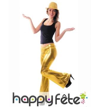 Pantalon holographique doré pour femme