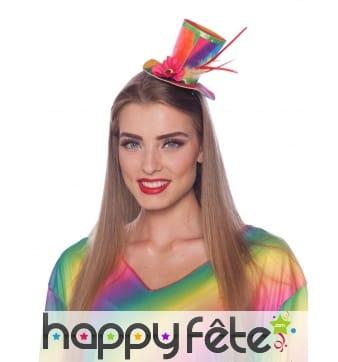 Petit haut de forme coloré clown sur serre-tête