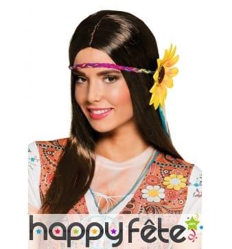 Perruque hippie longs cheveux bruns fleuris