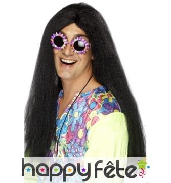 Perruque hippie longue noire