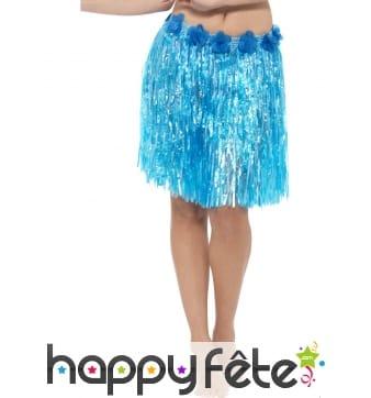 Pagne Hawaïen mi-long bleu fleuri
