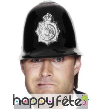 Police helmet plastic black/silver