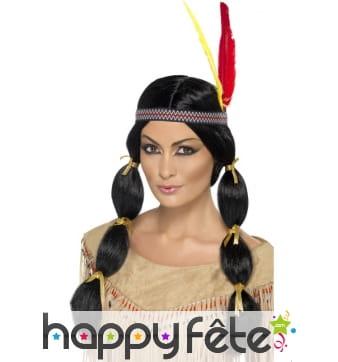 Perruque indienne avec bandeau et plume