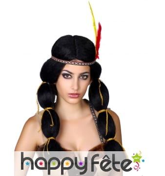 Perruque indienne avec deux longues couettes