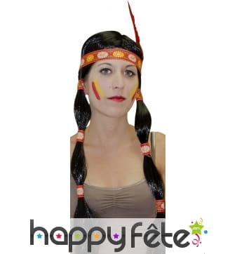 Perruque indienne avec nattes, bandeau et plume