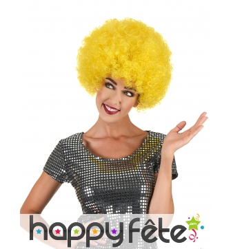 Perruque jaune afro volumineuse