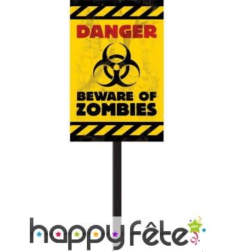 Panneaux jaune Danger Zombies 58 x 25 cm