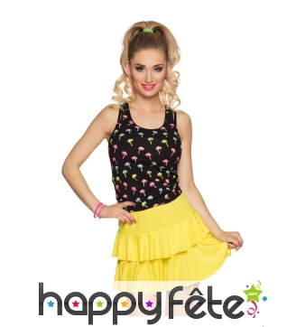 Petite jupe jaune fluo avec volants