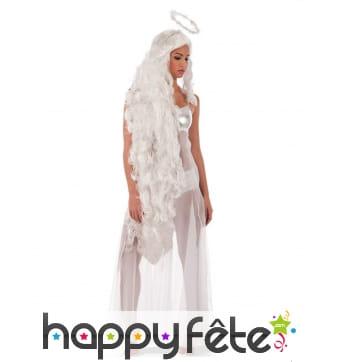 Perruque long cheveux blanc ange auréolé