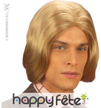 Perruque longue chevelure blonde pour homme