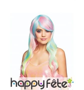 Perruque longue de licorne multicolore pour femme