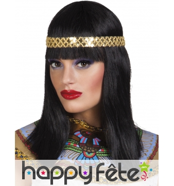 Perruque lisse egyptienne avec bandeau doré