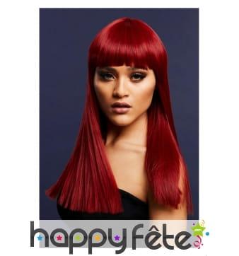 Perruque longue rouge rubis avec frange