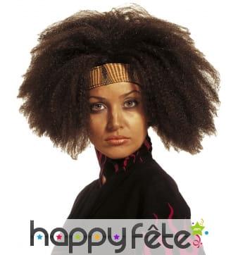 Perruque marron afro volumineuse pour femme