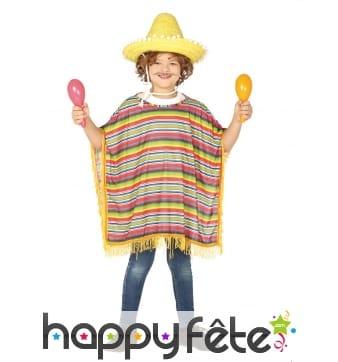 Poncho mexicain à franges pour enfant