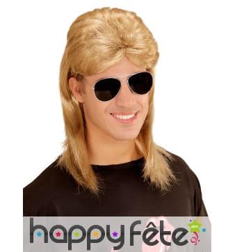 Perruque mulet blond noir avec lunettes