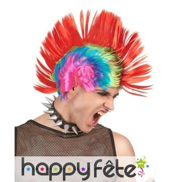 Perruque multicolore crête punk