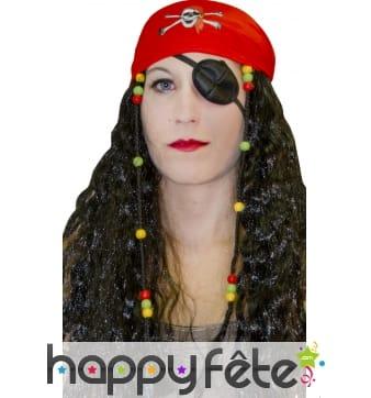 Perruque mixte de pirate avec foulard