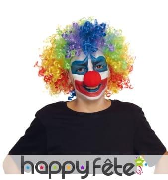 Perruque multicolore de clown pour enfant