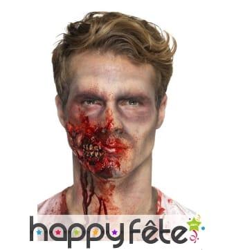 Prothèse mâchoire joue de zombie en latex