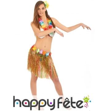 Pagne mi-long, collier et soutien-gorge hawaïen