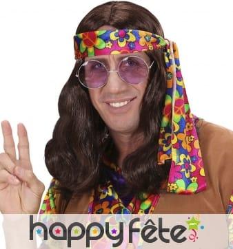 Perruque marron ondulée de hippie