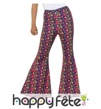 Pantalon motifs psychédéliques pour femme, 60's
