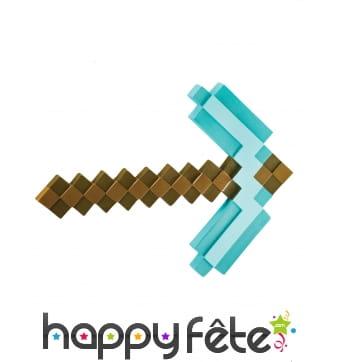 Pioche Minecraft pixelisée en plastique, enfant