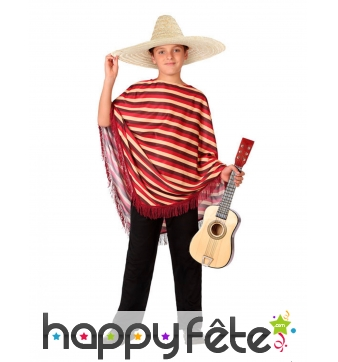 Poncho Mexicain rayé avec pantalon pour enfant