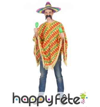 Poncho mexicain rayures piments pour adulte