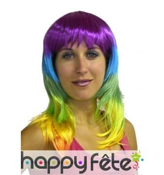 Perruque multicolore style flash