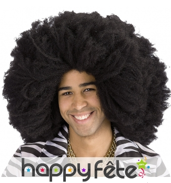 Perruque noire afro, volumineuse
