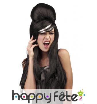 Perruque noire Amy Winehouse mèche blanche