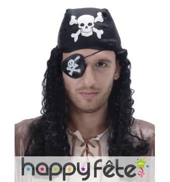 Perruque noire avec bandana de pirate
