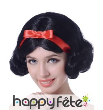 Perruque noire avec noeud rouge pour femme adulte