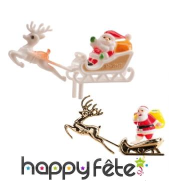 Père Noël décoratif et traîneau pour gâteau, 6cm