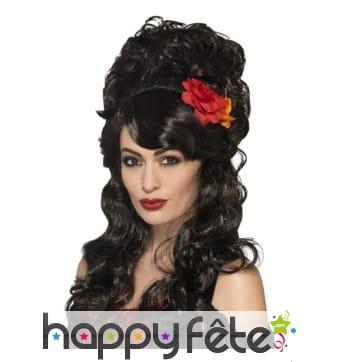 Perruque noire de femme espagnole avec fleur rouge