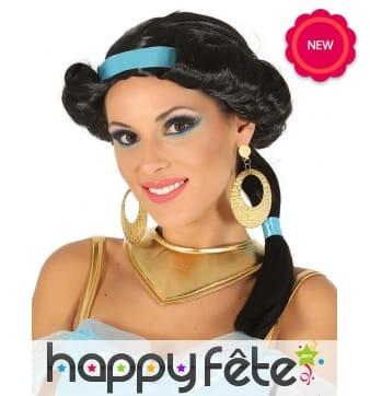 Perruque noire de Jasmine pour femme, Aladdin